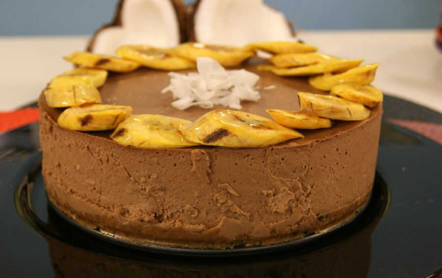 Cheesecake de Banana, coco e chocolate