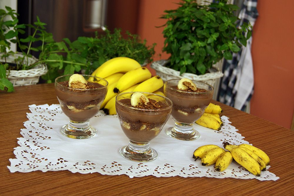 Pudim de Chocolate com Banana