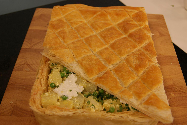 Torta de Ervilha com Batata e Queijo Cottage