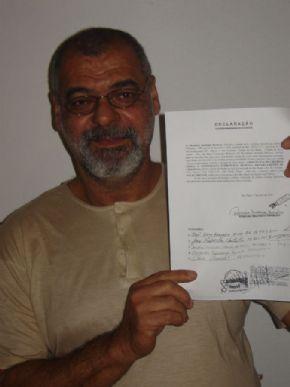 O ator Romário Barbosa assinou o termo de doação do corpo para ensino e pesquisa em 2005 / Foto: Arquivo Pessoal