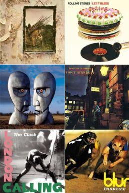 Algumas capas que vão virar selo: Led Zeppelin, Rolling Stones, Pink Floyd, David Bowie, The Clash e Blur