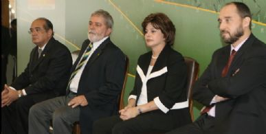 O presidente do STF, Gilmar Mendes, Lula, Dilma, e o novo Advogado Geral da União , Luís Adams