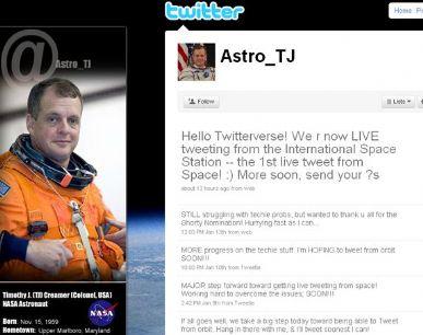 O Twitter do astronauta T.J. Creamer