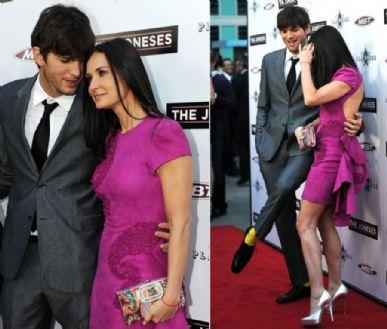 Ashton Kutcher ofusca Demi Moore ao mostrar detalhe no figurino
