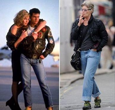 Kelly nos áureos tempos de musa, ao lado de Tom Cruise, e na fase atual