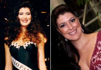 Valéria Peris em  1994 (esq.) e atualmente