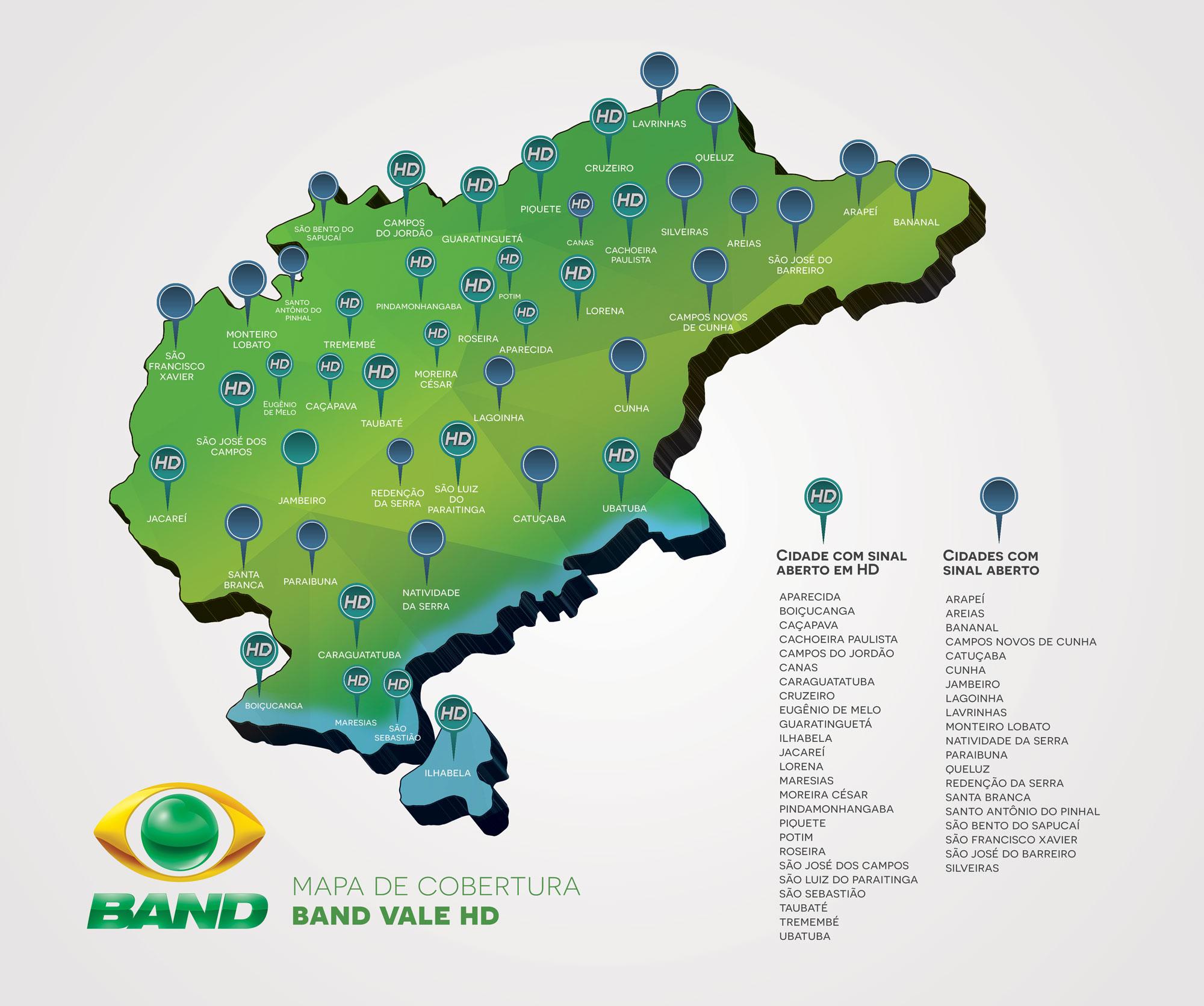A TV Band Vale está presente em 39 cidades do Vale do Paraíba, Serra da Mantiqueira e Litoral Norte.