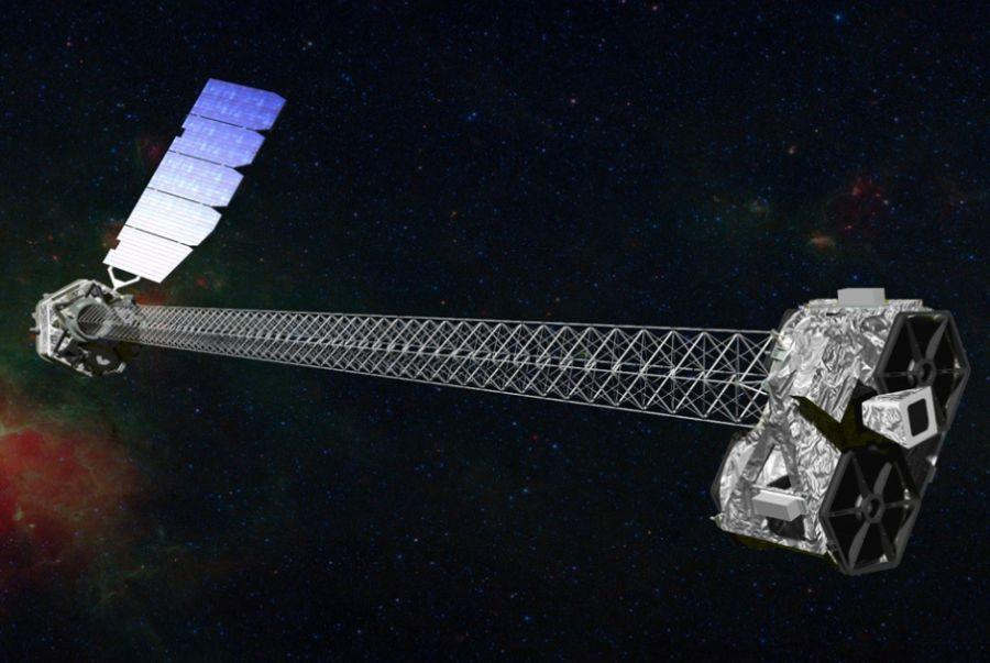 Reprodução artística mostra o telescópio que investigará buracos negros / Nasa/AFP