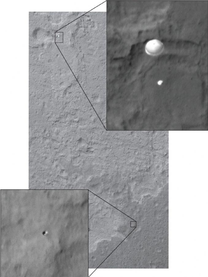 A sonda capturou a imagem do curiosity (em cima) e de outro objeto, provavelmente um escudo térmico (abaixo)( / HO / NASA/JPL-CALTECH/MALIN SSI / AFP