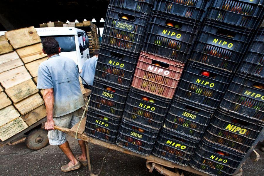 Homem trabalha no entreposto da Ceagesp / Danilo Verpa/Folhapress