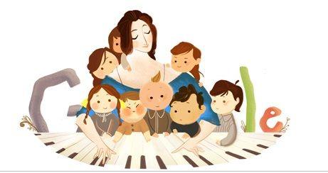 Logo mostra Schumann com seus oito filhos em volta de um piano / Reprodução/ Google