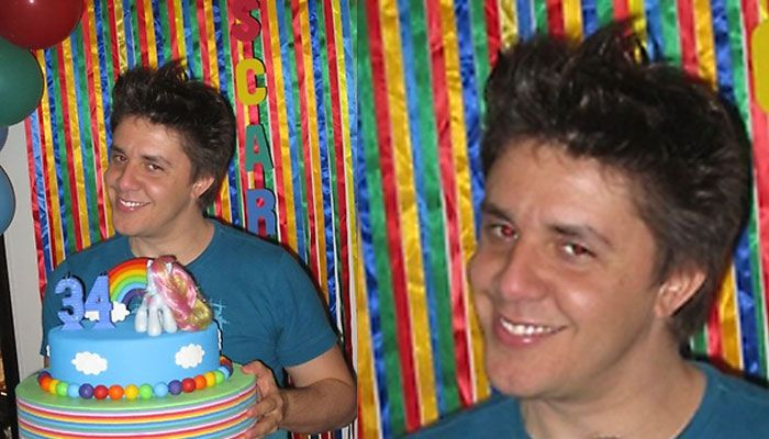 Oscar Filho e seu bolo colorido / Divulgação/ Twitter