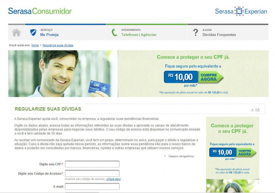No site, é possível acessar todas as informações referentes às dívidas  / Reprodução