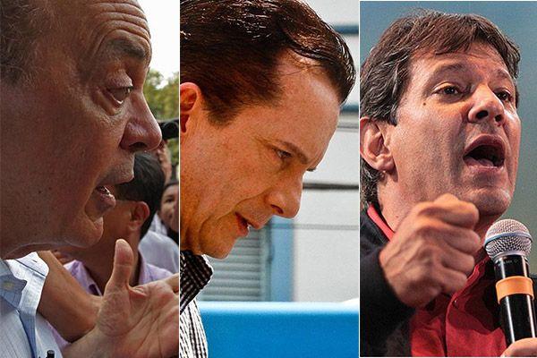 Serra, Russomanno e Haddad seguem juntos na disputa em SP / Fotos Folha Press/Montagem