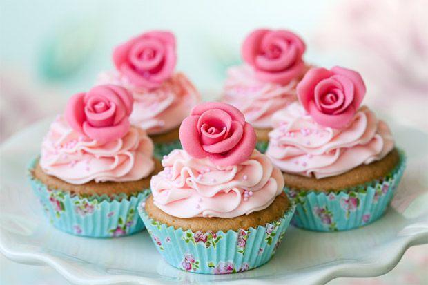 Cupcakes em azul e rosa