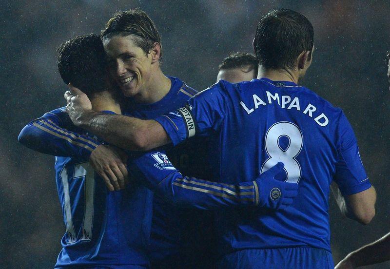 Jogadores do Chelsea comemoram goleada diante do Leeds nesta quarta-feira / Andrew Yates/AFP