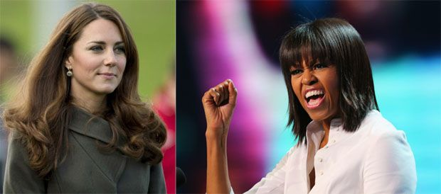Michelle Obama pode roubar posto de Kate Middleton. Adrian Dennis e Joe Raedle/AFP