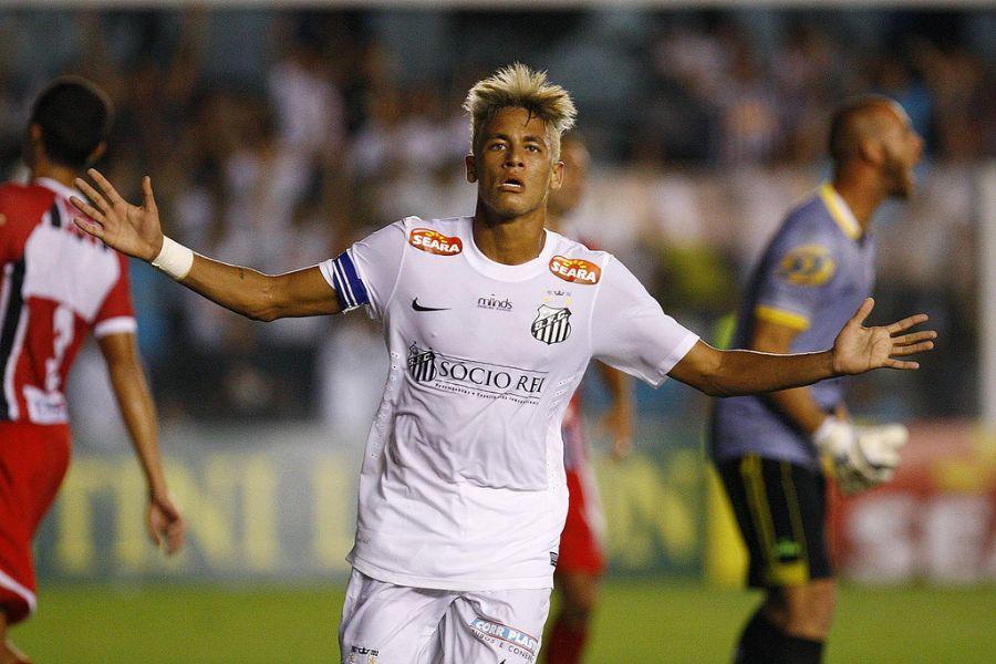 Neymar comemora gol  diante do Botafogo / Ricardo Saibun/Santos FC
