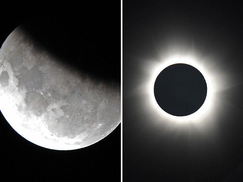 Eclipse lunar parcial (esquerda) e eclipse solar anular, ocorridos no ano passado / AFP
