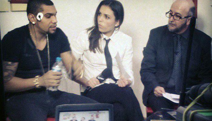 Naldo e Monica durante a gravação do