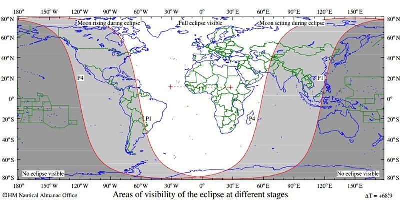 Mapa mostra áreas onde o eclipse penumbral da lua poderá ser observado nesta sexta / Reprodução/The Astronomical Almanac/U.S. Naval Observatory