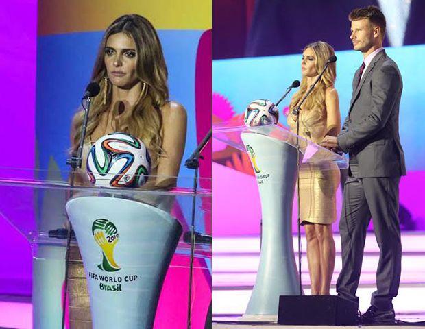 Fernanda Lima aparece estonteante no sorteio dos grupos da Copa