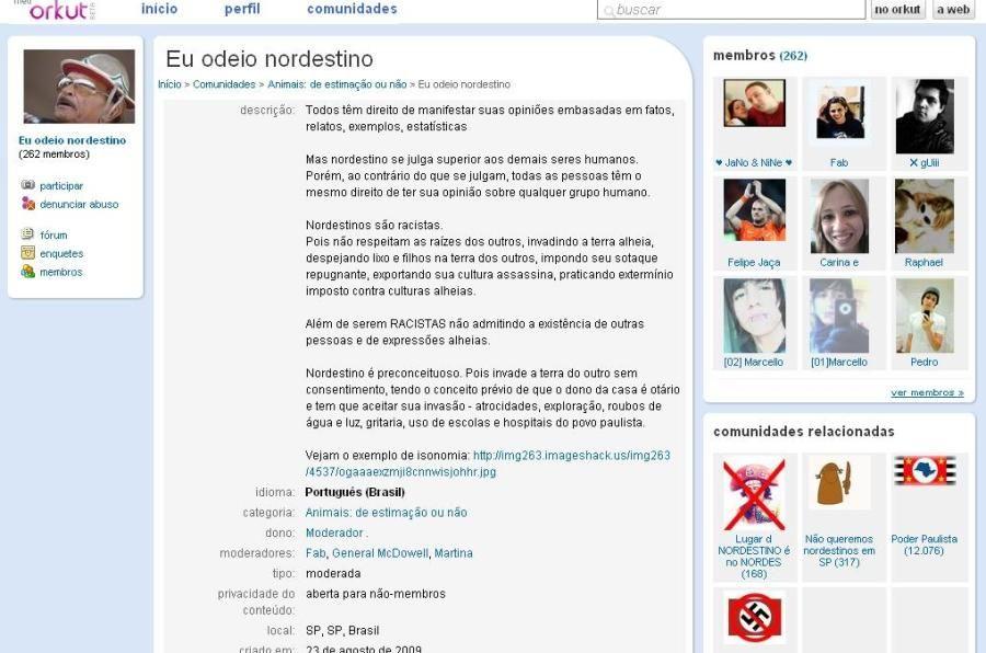 Comunidade possui fóruns com mensagens contra os nordestinos