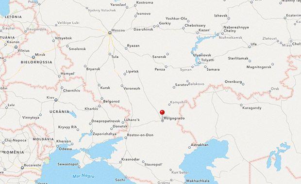 Mapa Rússia do atentado em Valgogrado