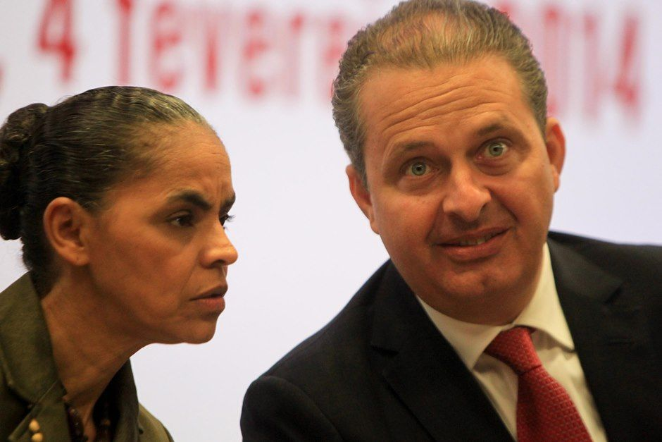 Campos e Marina, nesta terça-feira, durante apresentação do pré-governo / Joel Rodrigues/Frame/Folhapress
