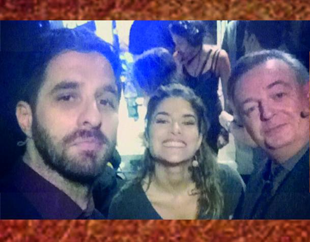 Rafinhas Bastos, Priscila Fantin e Marcelo Mansfield nos bastidores do talk show /