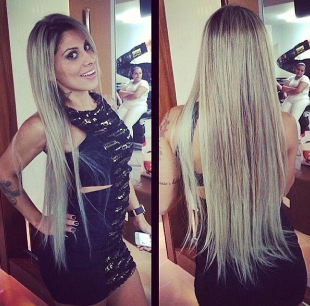 Milionária, ex-BBB Vanessa Mesquita alonga os cabelos em salão