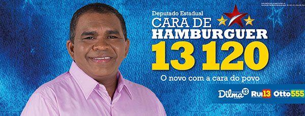 Santinho do candidato Cara de Hambúrguer na BA / Reprodução/Facebook