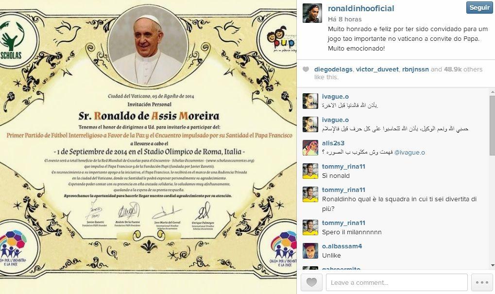 Ronaldinho mostra convite do Papa / Reprodução Instagram