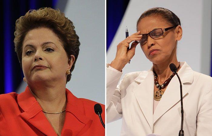 Marina Silva e Dilma Rousseff disputariam 2� turno / Nelson Antoine/Frame e Alice Vergueiro/Futura Press/Folhapress