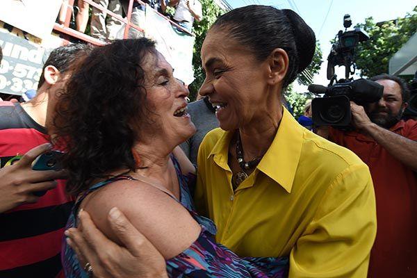 Marina Silva durante campanha no Rio / Vanderlei Almeida/AFP