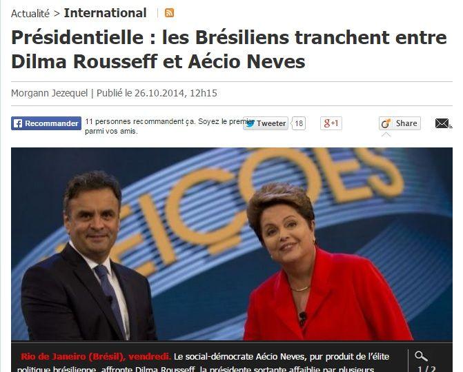 O jornal francês Le Parisien diz que o ¿playboy¿ Aécio enfrenta a ¿austera¿ Dilma
