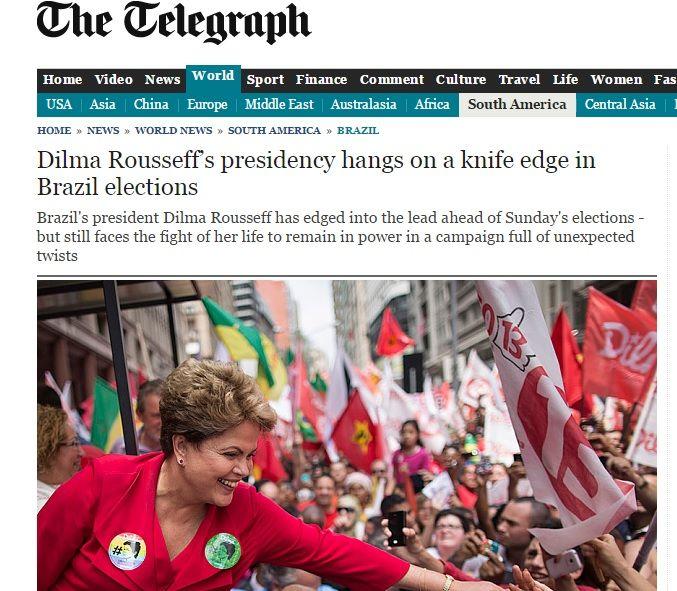 jornal britânico Sunday Telegraph diz que a presidência da petista está no ¿fio da navalha¿¿