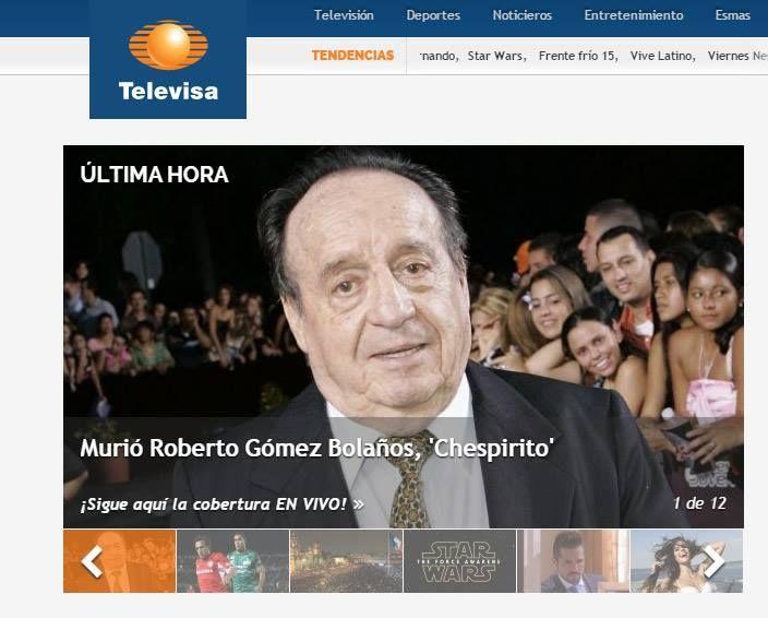 Roberto Bolaños morreu aos 85 anos / Reprodução/Televisa