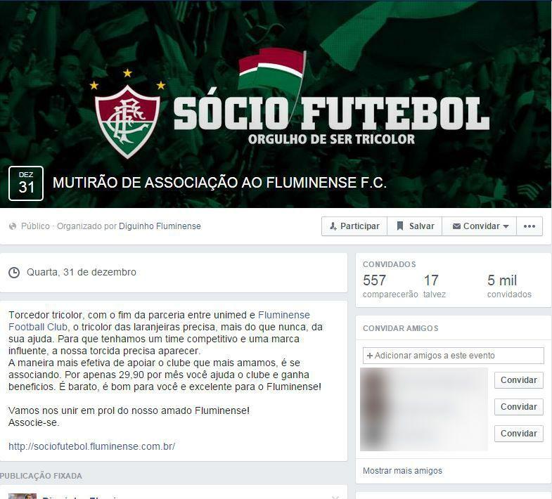 Mutirão de torcedores do Flu foi criado no Facebook / Reprodução/Facebook