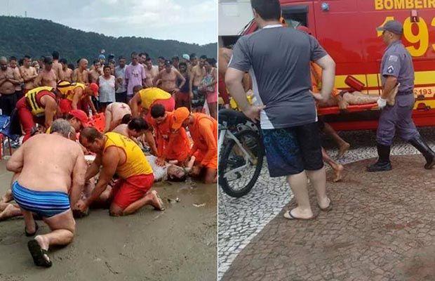 Socorro aos banhistas atingidos por raio em Praia Grande