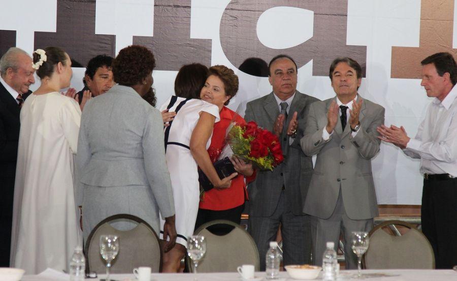 Dilma Rousseff durante encontro com representantes de igrejas evangélicas nesta quarta