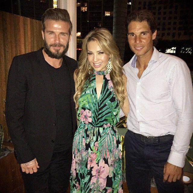 Thalia tieta David Beckham e Rafael Nadal em jantar nos EUA