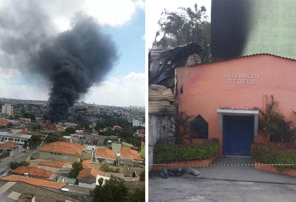 Fábrica e igreja ficaram muito queimadas com incêndio na zona leste de São Paulo / Daniel Siqueira/Ouvinte da SulAmérica Trânsito