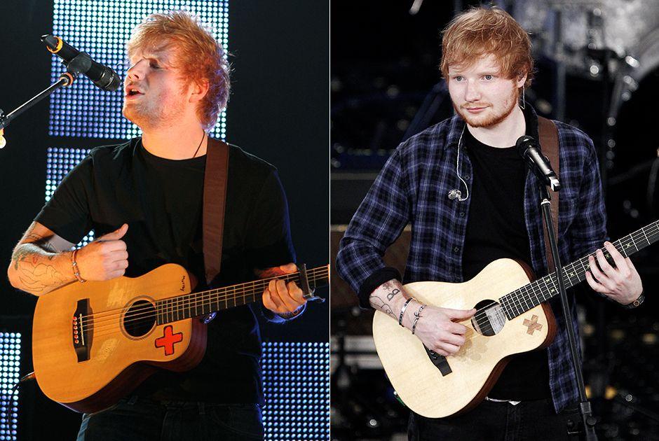 Ed Sheeran antes e depois, em 2013 e 2015 / Shutterstock
