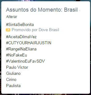 Hashtag favorável a Dilma liderou trending topics / Reprodução/Twitter