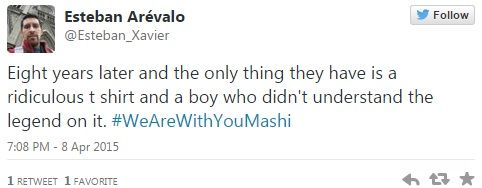 Depois que a foto foi parar no Twitter, surgiram as hashtags #IAmWithStupidMashi e #WeAreWithYouMashi