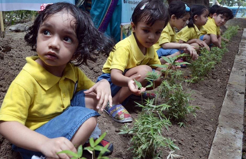 Escola da Índia adota iniciativa do Earth Day / DIBYANGSHU SARKAR / AFP