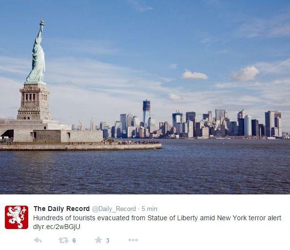 Centenas de turistas evacuaram ilha onde Estátua da Liberdade fica / Reprodução/Twitter