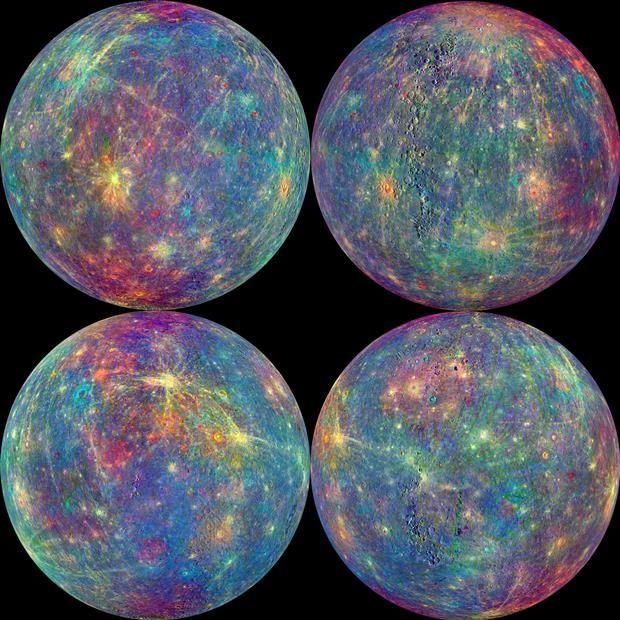 Nasa divulga imagens coloridas de Mercúrio / NASA/Johns Hopkins University Applied Physics Laboratory/Carnegie Institution of Washington