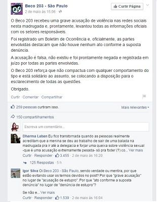 No Facebook, casa noturna diz que a acusação é falsa  / Reprodução/Facebook